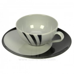 Tasse a the Luna Swing noir Porcelaine Bruno Evrard CL10010310, reference CL10010310
