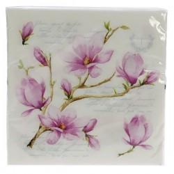 Paquet de 20 serviettes dimensions 33 x 33 cm décor Magnolia, reference CL10022020