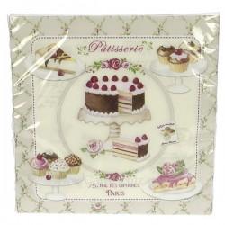 Paquet de 20 serviettes papier tissé 3 plis 33 x 33 cm décor petits fours et patisserie, reference CL10022023