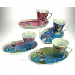 Coffret de 4 tasses décor fée Arts de la table CL10030120, reference CL10030120