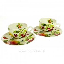 Coffret 2 tasses expresso décor fruit Arts de la table CL10030262, reference CL10030262