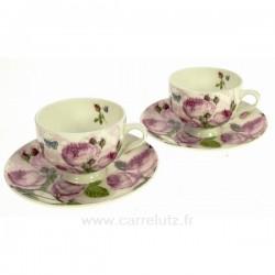 Coffret 2 tasses expresso décor roses Arts de la table CL10030263, reference CL10030263