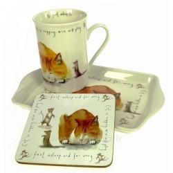 Coffret 1 mug décor chat endormien porcelaine fine bonne china, reference CL10030281