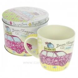 Boite métal mug en porcelaine décorée motif fiat 500 Roma, reference CL10030302