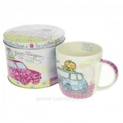 Boite métal mug enporcelaine décorée motif mini , reference CL10030303