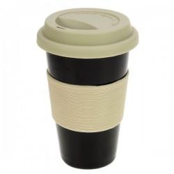 Mug isotherm noir en porcelaine double paroi couleur noire insert silicone gris, reference CL10030352