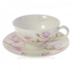 Coffret de 1 tasse à thé en fine porcelaine bone china décorée Magnolia en coffret cadeau, reference CL10030399