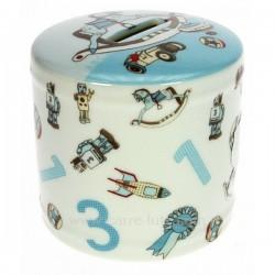 Tirelire en porcelaine décorée bleu, reference CL14600070