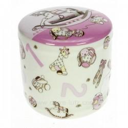 Tirelire en porcelaine décorée rose, reference CL14600071