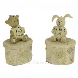 Ensemble de 2 boites à dent et mèche de cheveux en résine décorée ours et lapin, reference CL14600087