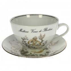 Dejeuner mariage filet platine décor colombes et anneaux porcelaine lhonneur, reference CL14601012