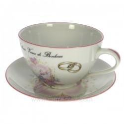Dejeuner mariage filet rose décor oiseaux et anneaux porcelaine lhonneur, reference CL14601013