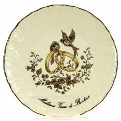 Assiette Meilleurs voeux bonheur décor colombes en porcelaine festonnée filet platine, reference CL14601028