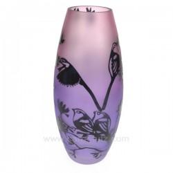 Vase décor paysage irisé mauve décor noir, reference CL18000039
