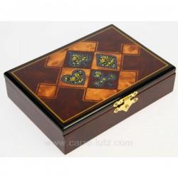 Coffret en bois laqué trefle contenant 2 jeux de cartes, reference CL20000005
