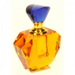Flacon de parfum couleur ambre à facette avec bouchon bleu cristal de paris, reference CL21040010
