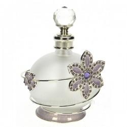 Flacon de parfum en verre dépoli avec bouchon à facettes décor en métal petite fleur mauve avec strass et émail, reference CL...