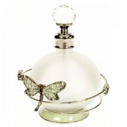 Flacon de parfum en verre dépoli avec bouchon à facettes décor en métal petite fleur et libellule ambreavec strass et émail, ...