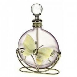 Flacon de parfumen verre dépoli couleur lilas décor papillon en nacre , reference CL21040170