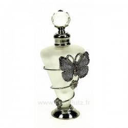 Flacon de parfumen verre dépoli décor papillon en émail violet et strass, reference CL21040173