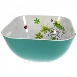 Saladier floral carré turquoise en mélamine, reference CL22000050
