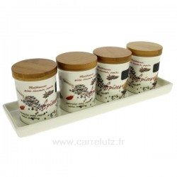 Set de 4 bocaux porcelaine à épices La cuisine CL29000071, reference CL29000071