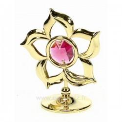 Fleur simple en métal or et cristaux de Swarovski, reference CL40002040