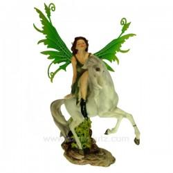 Fee sur licorne aile verte Thème lutin sorcière et fée CL47000112, reference CL47000112