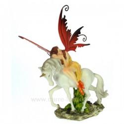 Fee sur licorne aile rouge Thème lutin sorcière et fée CL47000113, reference CL47000113