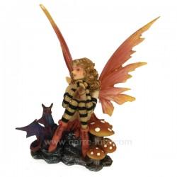 Fee rouge avec dragon Thème lutin sorcière et fée CL47000127, reference CL47000127
