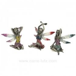 Ensemble 3 fees lotus metal Thème lutin sorcière et fée CL47000164, reference CL47000164