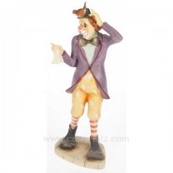 Clown en résine décorée hauteur 27 cm, reference CL47001006