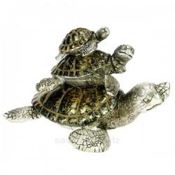 Famille 3 tortues de mer vert bronze en résine , reference CL48100038