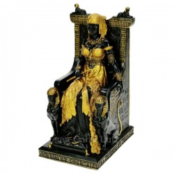 Cléopatre sur trone noir et or en résine couleur noir et or, reference CL50030135