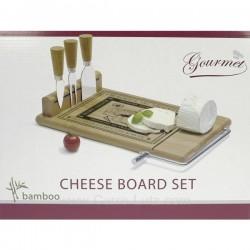 Plateau à fromage 3 accessoires + lyre en bambou décor fromages de tradition les délices des gourmets, reference CL50120043