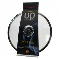 Couvercle en verre trempé diamètre 24 cm  bord et bouton inox design Aubecq UP, reference CL50155115