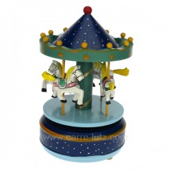 Manege en bois bleu Carrousel manège et boite à musique CL50231026, reference CL50231026