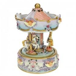 Manege chevaux rose et mauve Carrousel manège et boite à musique CL50231092, reference CL50231092
