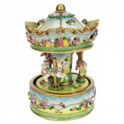 Manege chevaux fleurie Carrousel manège et boite à musique CL50231094, reference CL50231094