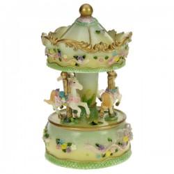 Manège résine décor fleurie vert, reference CL50231106