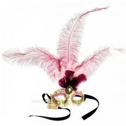 Masque de venise civette toupet rose Masque de Venise CL50240396, reference CL50240396