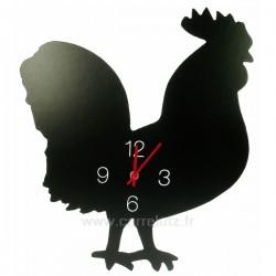Horloge coq noir en plastique facon ardoise noir mat , reference CL80000248