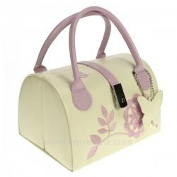 Coffret bijoux sac papillon en simili cuir blanc et rose, reference CL85000175