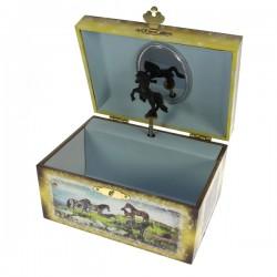 Coffret à bijoux musical recouverte de papier renforcéet imprimé scéne de chevaux, reference CL85000182