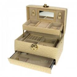 Coffret bijoux en simili cuir et nacre model canberra, reference CL85000185
