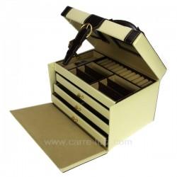 Coffret bijoux cuir beige et marron façon croco, reference CL85000198