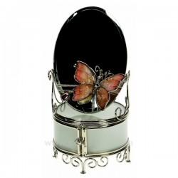 Coffret bijoux en métal chromé verre et émail, papillon rose , reference CL85000221