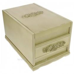 Coffret bijoux mistral en bois cérusé beige couvercle avec miroir escamotable intérieur suédine ivoire, reference CL85000289