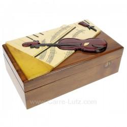 Coffret bijoux violon Pollyanna en bois vernis décor en relief violon et partition, reference CL85000291