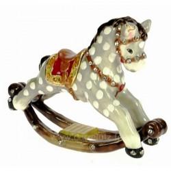 Boite à bijoux émaillée plaqué or avec cristaux australien cheval à bascule, reference CL85002064